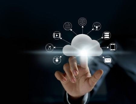 Cloud computing, futuristische display technologie connectiviteitsconcept Stockfoto