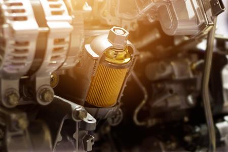 Cut metal car engine part, colorful concept Archivio Fotografico