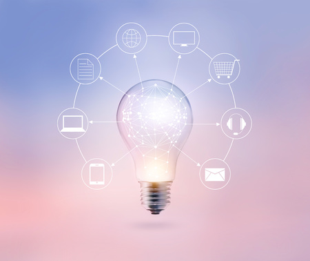 network connection: Light bulb circle global and icon customer network connection on pastel color background, Omni Channel or Multi channel