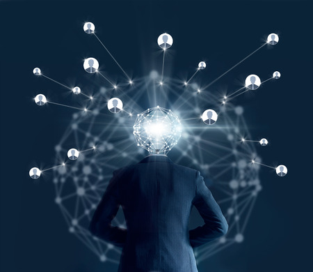 Businessman with global network connection head looking for employee from social connection on dark background, business concept