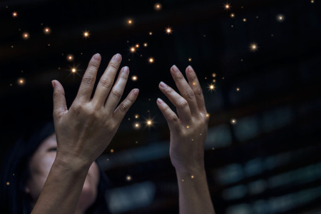 Respect and pray and stardust on city at night background