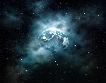 スター フィールドに、NASA から提供されたこのイメージの要素で宇宙に上る太陽と地球