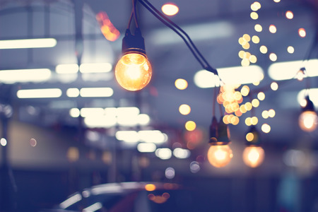 lights decoration event festival and christmas lights outdoor vintage tone soft and blur stock