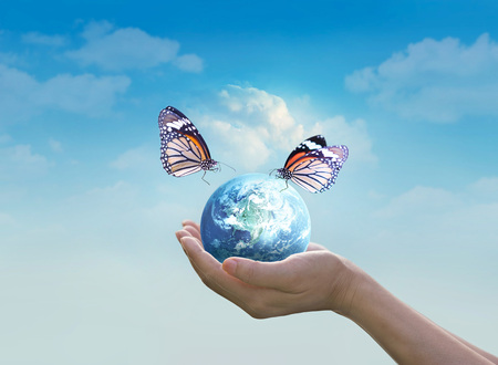 Woman holding planet earth with butterfly in hands on clean blue sky background, Elements of this image furnished by NASA Stock Photo