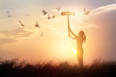 Woman holds a sign with word faith and flying birds on nature sunset background