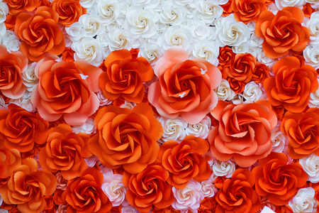 Red and white paper flowers for background