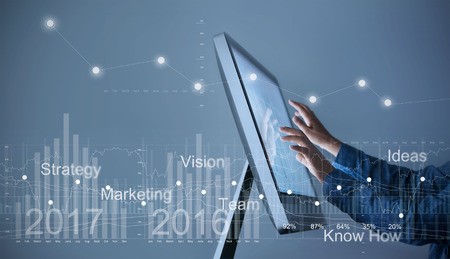 Man Use computer, businessman hand touch screen graph statistic interface with virtual icon market stock, business strategy concept