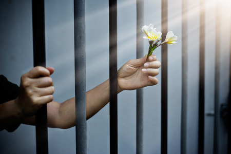 trapped: woman prisoner in prison with white flowers Stock Photo