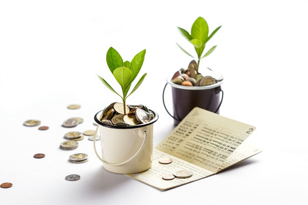 Young plant growing in glasses jars of coins account passbook, saving money, investment and financial concept Stock Photo