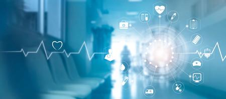 病院の背景、医学技術ネットワーク概念の現代仮想画面インターフェイスを含む医療アイコン ネットワーク接続