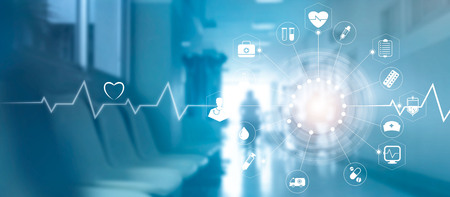 Medical icon network connection with modern virtual screen interface on hospital background, medicine technology network concept Reklamní fotografie