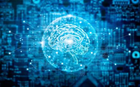 Virtuele hersenen innovatieve technologie in wetenschap en medisch concept in blauwe toon Stockfoto