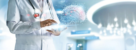 Doctor checking brain testing result with computer interface, innovative technology in science and medicine concept