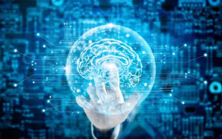 仮想脳科学の革新的な技術と青色のトーンで医療の概念に触れる男