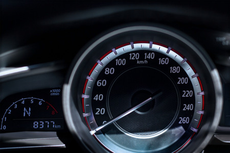 car dashboard speedometer close up Stock Photo