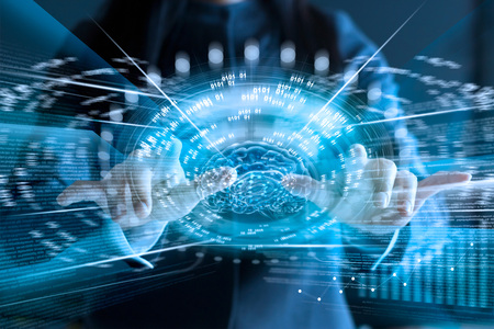Business woman touching virtual screen of brain and fast speed network connection on screen, technology connection business concept