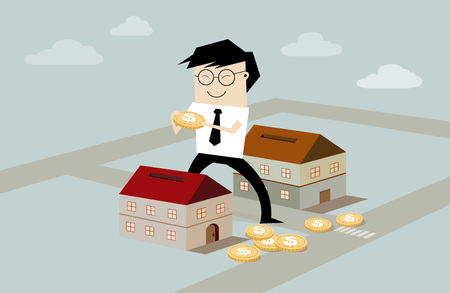 condominium: businessmans putting coin inside the house - real estate investment, flat style illustration Stock Photo