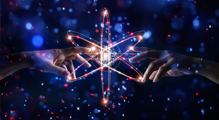 Hands touching science and network connection and data exchanges on glitter bright lights colorful  background Stock Photo