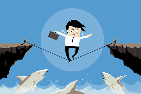 businessman trying to balance his business in the bad situation, illustration flat image