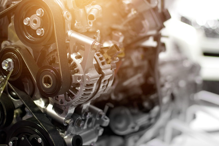 Car engine part, concept of modern vehicle motor and cut metal car engine part details Stok Fotoğraf