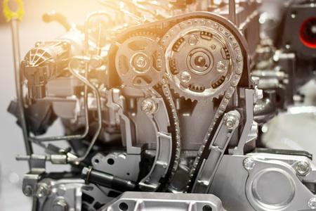 Car engine part, concept of modern vehicle motor and cut metal car engine part details Standard-Bild