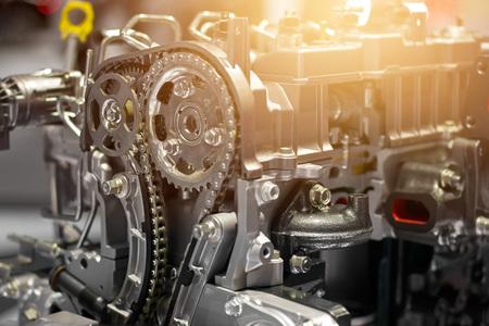 Car engine part,concept of modern vehicle motor and cut metal car engine part details Standard-Bild