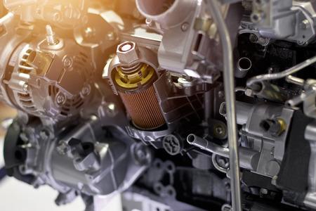 Car engine part concept of modern vehicle motor and cut metal car engine part details