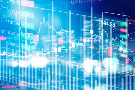 Stock Market Chart with graph and rows of currency on LED display, stock exchange and finance concept Stockfoto