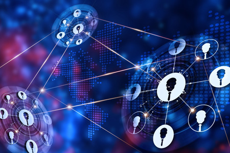 Abstract technology with business global network connection on dark background