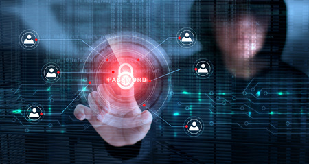 Hacker touching lock icon and password with binary code screen background. Cyber crime concept