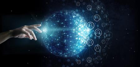 宇宙の背景にグローバルネットワークとデータ顧客接続に触れるビジネスマン