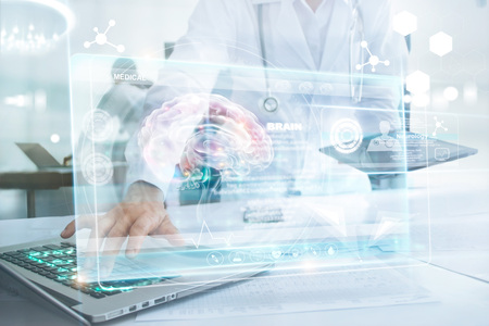 Medicine doctor in brain touching laptop and information medical network connection with modern virtual screen interface in laboratory. Technology Innovation and medicine concept Zdjęcie Seryjne