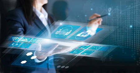 Technology Innovative and business network concept. Woman using interface social networking connection and payments online shopping on virtual screen