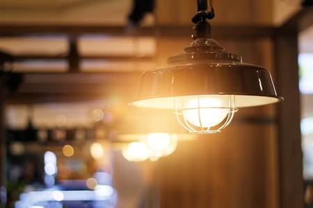 Vintage ceiling light decorative in coffee shop Stock Photo - 97186479