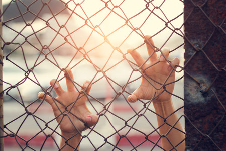 Hands of a woman escape on mesh cage.