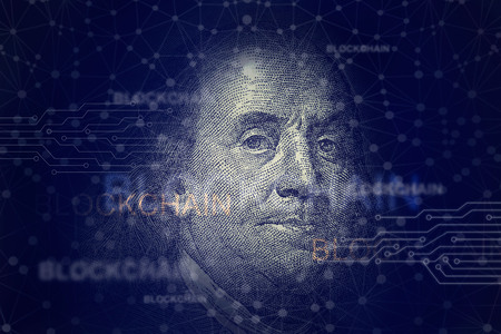 Benjamin franklin with blockchain. Cryptocurrency and traditional money on networking connection background