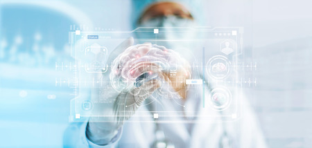 Doctor checking brain testing result, analysis with modern virtual interface in laboratory, innovative technology in science and medicine concept Stock Photo