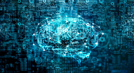 Artificial Intelligence digital Brain future technology on motherboard computer. Binary data. Brain of AI. Futuristic Innovative technology in science concept Banco de Imagens - 102205780