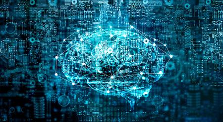 Tecnologia futura del cervello digitale di intelligenza artificiale sul computer della scheda madre. Dati binari. Cervello di AI. Tecnologia innovativa futuristica nel concetto di scienza