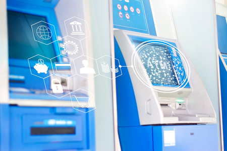 ATM machines with global network banking icon, automatic money and online banking technology concept