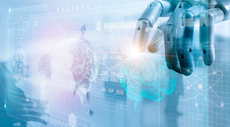 Robot checking brain testing result with computer interface, futuristic human brain analysis, innovative technology in science and medicine concept