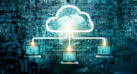 Cloud computing diagram network data storage technology service on structure circuit computer, Lock, Cyber security, Block chain, Cloud Computing Concept Banque d'images - 106927255
