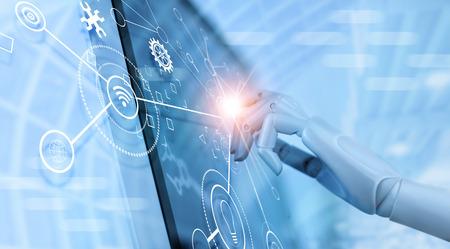 Hand van robot die over het virtuele scherm van de interface gebruikt om de status te controleren en automatisering robotica bewapent machine in intelligente fabrieksindustrie met pictogramstroom en gegevensuitwisseling in productietechnologie. AI. Futuristische technologie en industrie 4.0-concept.