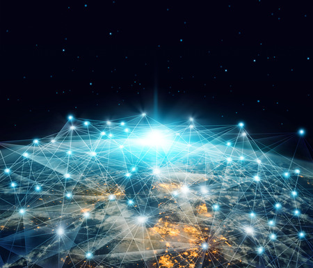 Network and data exchange. Global networking business and telecommunication  connected over planet earth in space 3D rendering.