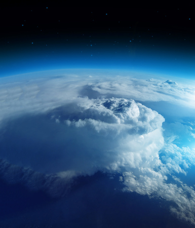 Storm from space on the blue planet earth, 20km above ground  real photo.