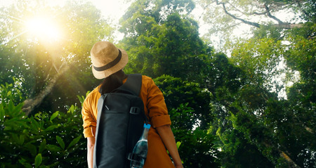 Travelling woman with backpack enjoying on exploring and trekking in tropical rain forest of Asia, Tourist traveler on background view nature and ecotourism. Stock Photo