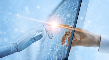 Hands of robot and human touching on global virtual network connection future interface. Artificial intelligence technology concept.