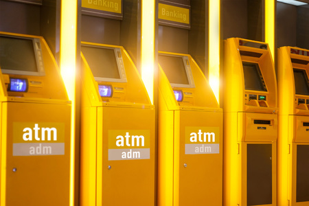 Atm automachine for cash and Adm automatic cash  deposit money, all for financial transaction. Banking and technology. Stock Photo