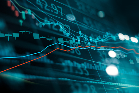 Financial stock market investment trading graph. Candle stick graph chart. Currency exchange rates. Bullish point, Bearish point. trend on technology abstract background Stockfoto