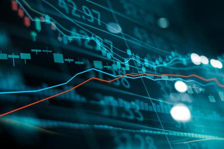 Financiële beurs investeringen trading grafiek. Kandelaar grafiek grafiek. Valuta wisselkoersen. Bullish punt, bearish punt. trend op technologie abstracte achtergrond